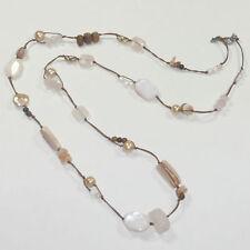 Silpada Pink Pearl Rose Quartz Long Necklace N1428 .925 Sterling Silver Silk