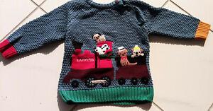 NEXT Baby boy knit sweater 9-12 months dogs pattern jumper cotton