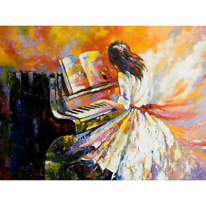 Music Piano Girl Impressionism Large Wall Art Print Canvas Premium Poster