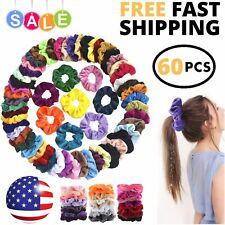 60 Pcs Colorful Hair Scrunchies Velvet Band Elastic Bobble For Ponytail Assorted