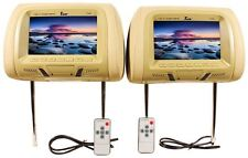 "Tview T726PL-TN 7"" Tan Pair (2) LCD Car Headrest TV Monitor w/ IR Transmitter"
