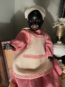 """Antique Black Bisque Doll 18"""" W/ Rare Square Teeth Original Antique Costume"""