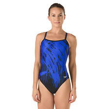 NEW* Speedo 4 30 Swimsuit RACING ATHLETIC Black Blue Adult Drip $74 Retail