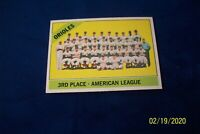 1966 TOPPS BALTIMORE ORIOLES TEAM CARD # 348