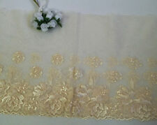 """8-1/2"""" Beige / Ivory Embroidered Flower Dot Mesh Lace -Per Yard-T1243"""