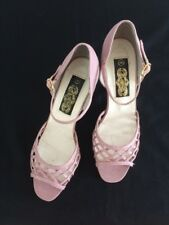"Vintage Pink Mauve Lattice Peep Toe Ankle Strap 2.5"" Heel Shoes 5"