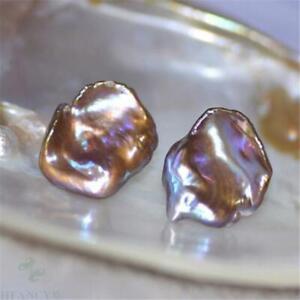 15-16mm Multi-color Baroque Petal Pearl Earrings AAA light luxury cultured