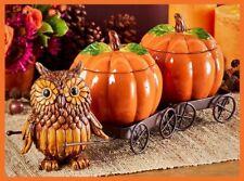 Autumn Harvest Owl Pumpkin Wagon Thanksgiving Centerpiece Candy Serving Bowls