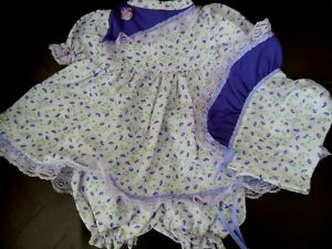 "Hand Made Dress Set Pale Lilac w/Purple Flower Print Purple Trim for 20-22"" Doll"