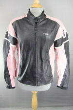 RICHA BLACK & PINK LEATHER BIKER JACKET WITH REMOVABLE CE ARMOUR: SIZE 14