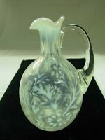 VINTAGE FENTON ART GLASS FRENCH WHITE OPALESCENT DAISY & FERN CRUET PITCHER