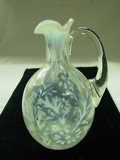 VINTAGE FENTON ART GLASS FRENCH WHITE OPALESCENT DAISY & FERN CRUET PITCHER