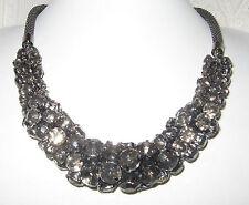 Milanese-Halskette,XXL-Collier, Statement, gefasste Acryl-Kristalle, rauch-grau