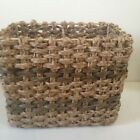 NEW! Large Wicker Basket Metal Frame Rattan Braided Tan Brown 13.5 x 11.5 x 8.5