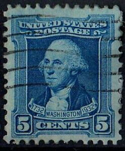 US 1932 Scott #710 George Washington 5C Blue STAMP