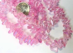 """34"""" Strand Aurora Borealis Pink Glass 4-9mm Chip Beads with 0.4-0.5mm Hole"""