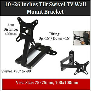 TILT SWIVEL SLIM TV WALL MOUNT BRACKET FOR 10 15 20 22 24 26 INCH LCD LED PLASMA