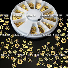 12 Patterns Design Christmas Nail Art Decoration Gold Metal Slices #092A