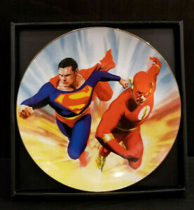 SUPERMAN VS THE FLASH COLLECTOR'S PLATE ART BY ALEX ROSS 1150/1200 DC DIRECT