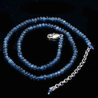 Faceted 2x4mm Blue Kyanite Rondelle Gems Beads Necklace 18'' Silver Clasp AA