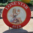 Vintage 1960 Lone Star Beer Brewing Company Porcelain Gas & Oil Pump Sign