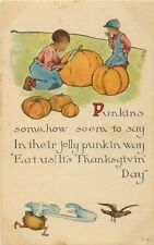 c1910 Black American Carving Pumpkins Thanksgiving Postcard