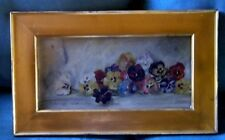 Antique Victorian Original Oil on Board Pansy Painting WIDE Gold Frame Folk Art