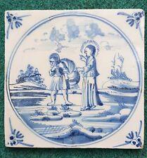 Antique 18thC.Dutch Delft Blue White Bible Biblical Religious Tile Restoration