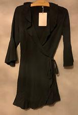 BNWT Womens Asos Outrageous Fortune Black Mini Sheer Ruffle Wrap Dress - Size  8