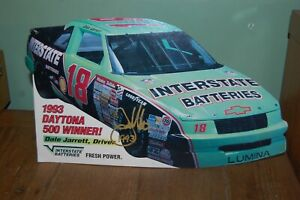 "1993 #18 Dale Jarrett Daytona 500 Interstate Batteries 15"" counter display sign"