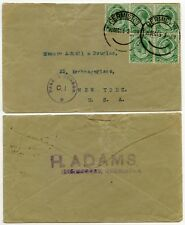 SOUTH AFRICA WW1 CENSOR C1 ENVELOPE to USA 1915 BLOCK FRANKING 1/2d GERMISTON