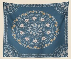 "NEW 60""x52"" Pink Peach Floral Mandala Dark Teal Blue Tapestry Wall Decor w/Clips"