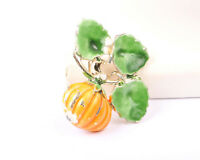 Gold Tone and Enamel Pumpkin Brooch, Vintage 1950s