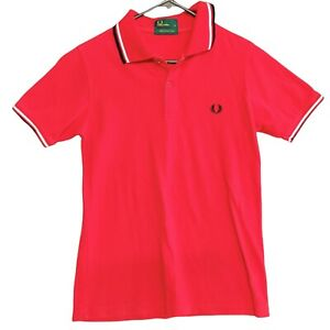 Fred Perry Mens Polo Shirt Size S Orange Short Sleeve Logo Embroidered Cotton