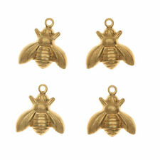 Qty 5 Tiny Antiqued Brass Bee Charms or Pendants Wings Bent in Flight 13mmX7mm