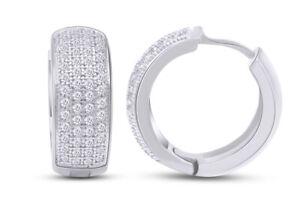 5/7 Ct Natural Round Diamond Hoop Huggie Mens Earrings 14K Gold Over Silver