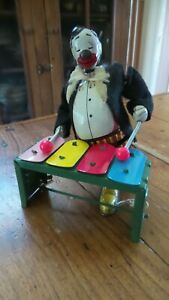 """Vintage TPS """"Joe the Xylophone Player"""" Tin Windup Toy, made in Japan"""