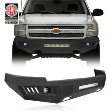 Textured Steel Front Bumper With Led Light Bar For 2007 2013 Chevy Silverado 1500 Fits 2013 Silverado 1500