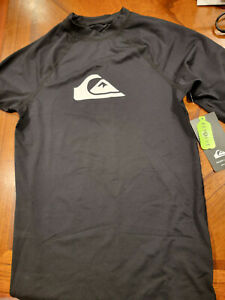 Quiksilver Boys' All Time Short Sleeve Youth Rashguard Surf Shirt BLACK XL/16