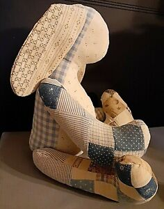 """OOAK Rabbit For Easter,Vintage 1940s Cotton,Fabrics, Patchwork, Classical 14"""""""