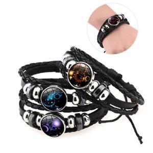 Leather Bracelet Astrology Star Sign Zodiac Horoscope Pendant Space Wristband