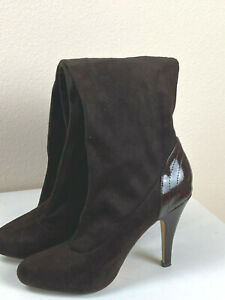 Charles David Brown Micro Suede Boots Raphael Sz 7 Stretch Knee High Boot $159