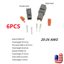 6pcs Electrical Car Auto 2 Pin Dtm Waterproof Wire Connectors Plug 20 24 Awg