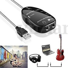 Guitar to USB Interface Audio Cable Recording Adapter For PC/Mac Computer New