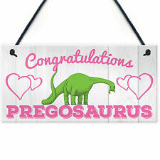Contragulations Pregosaurus Novelty Hanging Plaque Baby Shower Pregnancy Sign