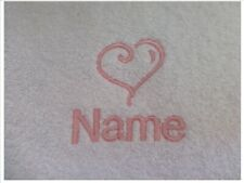 HEART design Embroidered onto an Adult Robe with Name of Choice Personalised