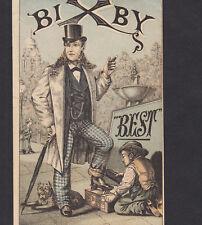 Bixby Boot Blacking Shoe Polish 19th Century Dude Cigar Dog old Advertising Card