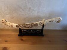 Antique Japanese Carved Sword Envelope Opener Elephant Handle Signed And Marked