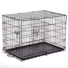 """48"" Extra Large Dog Kennel XL Crate Collapsible Metal Pet Cage 2 Doors Tray Pan"