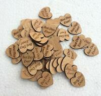 """30 x 25mm  Wooden Heart Table Confetti Decoration  """"Best Day Ever"""" Rustic"""